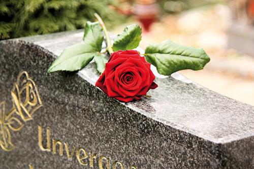 Bestattung: Eine rote Rose auf einem Grabstein.
