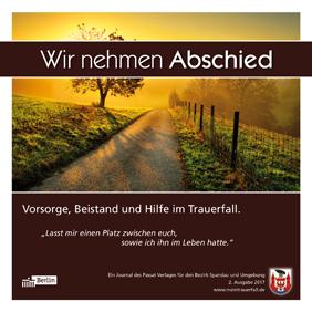 """Titelseite der Broschüre """"Wir nehmen Abschied"""", Ausgabe Spandau 2017"""