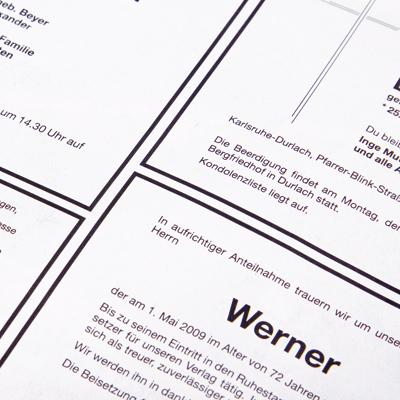 Trauerdrucksache Anzeigen in Tageszeitung.