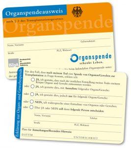 Organspendeausweis der Bundeszentrale für gesundheitliche Aufklärung